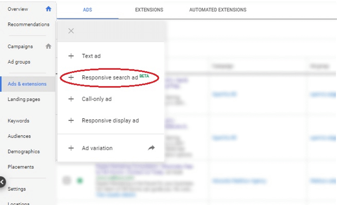 Google Ads Dashboard - responsive search ads