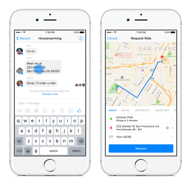 Facebook messenger and uber