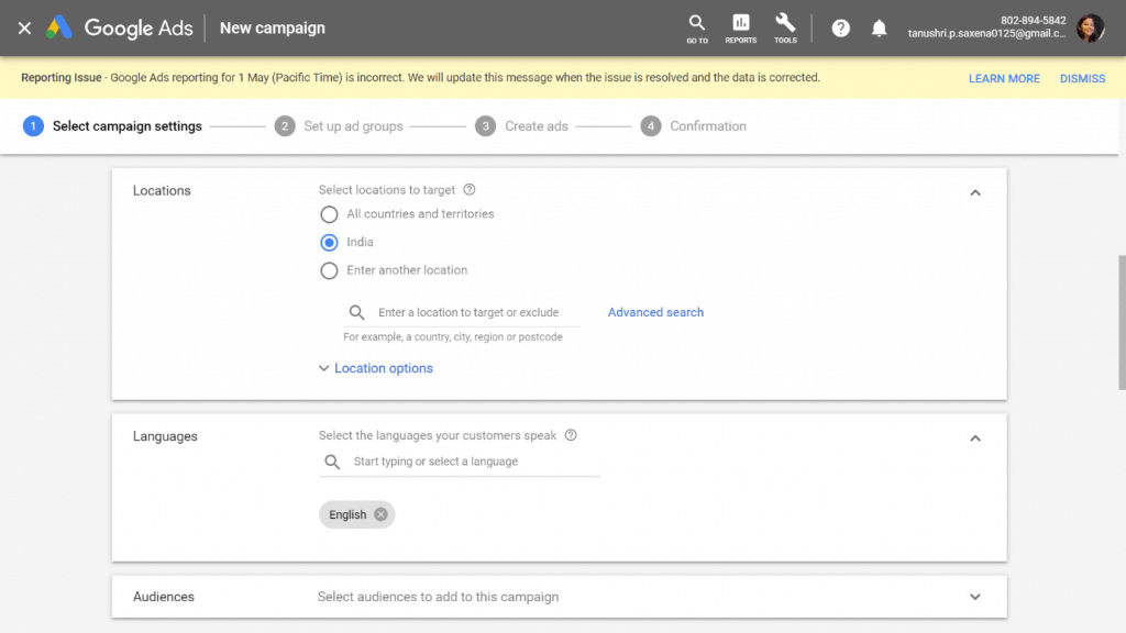 Google Ads Campaign settings