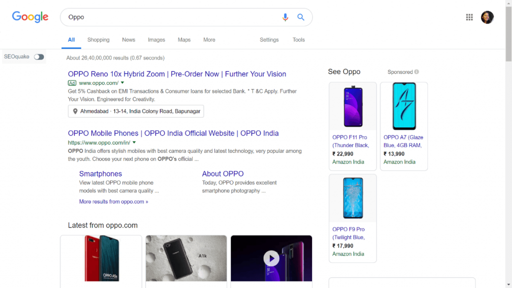 ads displayed on google